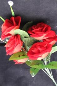 Цветы искусственные  АМ-10-2 РОЗЫ КРАСНЫЕ 7 шт