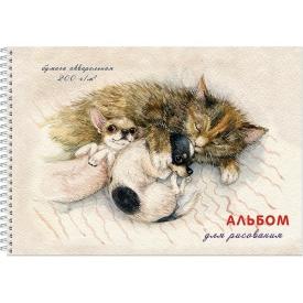 """Альбом для рисования акварелью """"Спящие дружочки"""" А4, 20 л. гребень"""