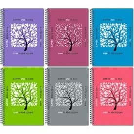 """21с15 Блокнот 60л., А6, """"Дерево в квадрате"""", крепление слева, метал. гребень"""