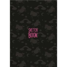 СКЕТЧБУК А5. ЕДИНОРОГИ (чёрный) (выб.лак) розовые листы 120гр