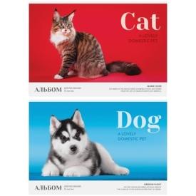 """Альбом для рисования 16л., А4, на скрепке ArtSpace """"Питомцы. Cat/Dog"""", обложка-офсет"""